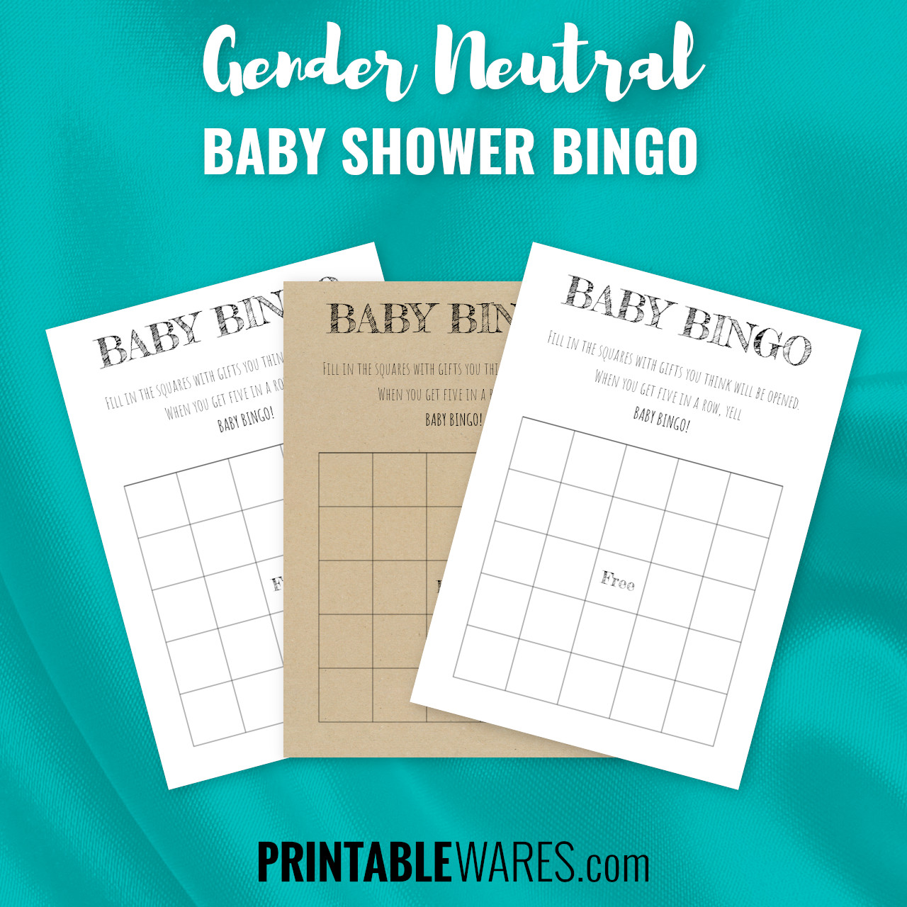 Simple Blank Baby Shower Bingo Templates