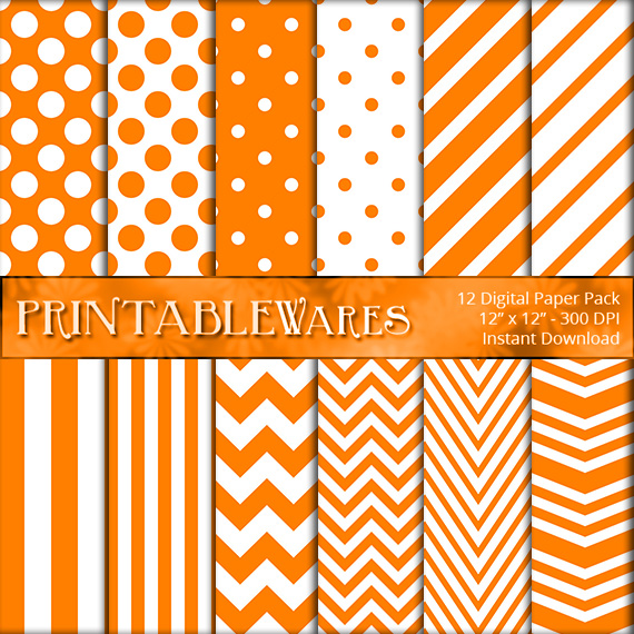 Cute Orange Patterned Paper Printables