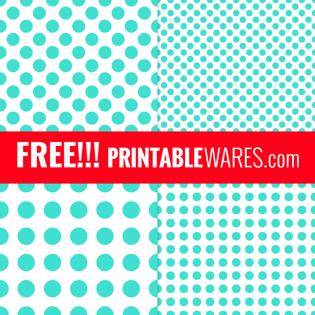 Turquoise Polka Dots Free Printable Scrapbook Paper Pack