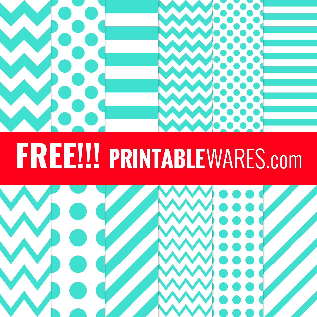 Printable Turquoise Scrapbook Backgrounds with Patterned Papers
