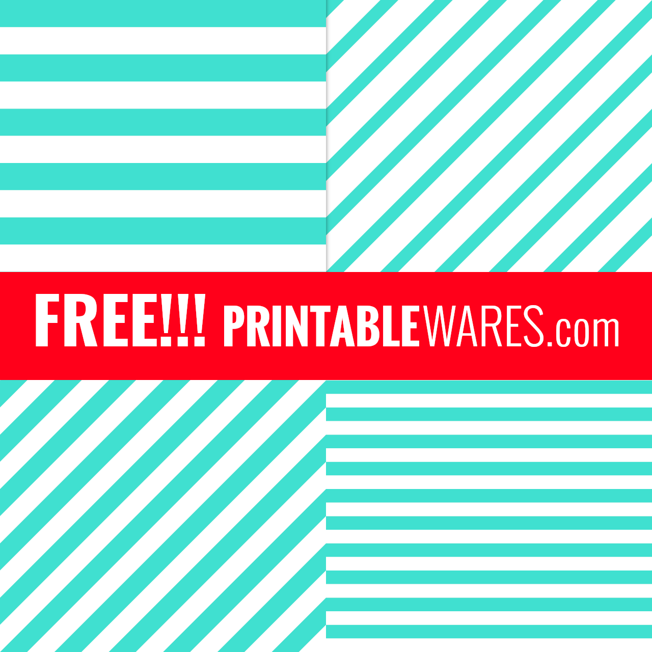Turquoise Striped Digital Scrapbook Papers
