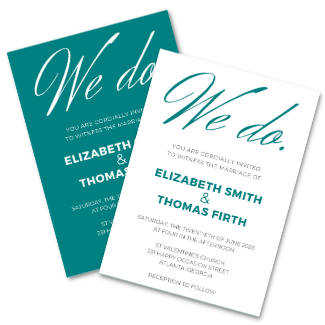 Teal Bold Wedding Invitation Templates DIY We Do