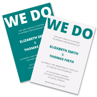 We Do Teal Wedding Canva Invitation Template Royal Blue